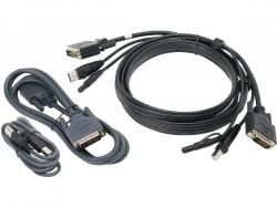 IOGEAR 10 ft. Dual View DVI, USB KVM Cable Kit with Audio (TAA), G2L7203UTAA3