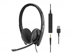 EPOS   SENNHEISER Wired binaural UC headset with 3.5 mm jack and USB connectivity, with in-line call control. Skype for Business certified and UC optimized., 508317